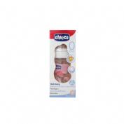 Biberon plastico pp t caucho - chicco fisiologico 0% bisfenol boca ancha flujo normal (150 ml rosa)