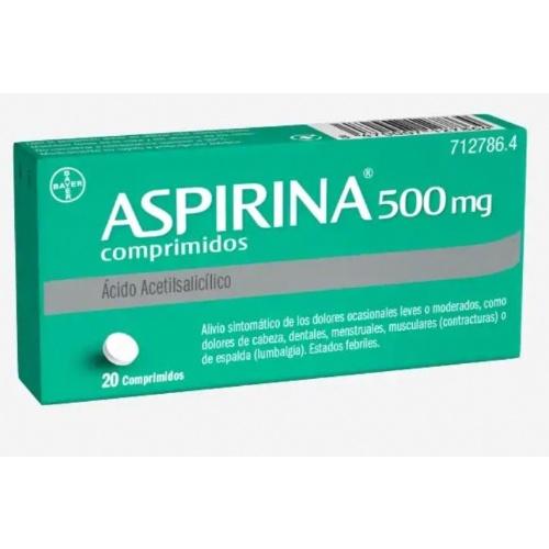 ASPIRINA 500 MG COMPRIMIDOS, 20 comprimidos
