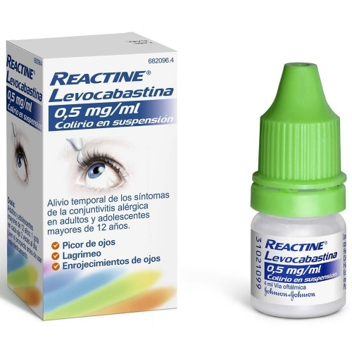 REACTINE LEVOCABASTINA 0,5mg/ml COLIRIO EN SUSPENSION , 1 frasco de 4 ml