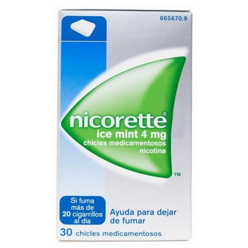 NICORETTE ICE MINT 4 mg CHICLES MEDICAMENTOSOS, 30 chicles
