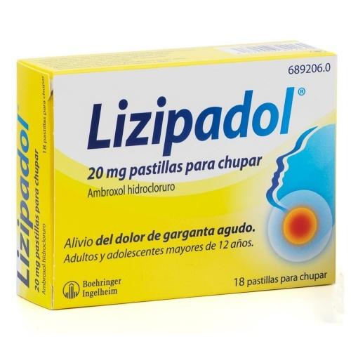 LIZIPAINA AMBROXOL 20 MG PASTILLAS PARA CHUPAR , 18 pastillas